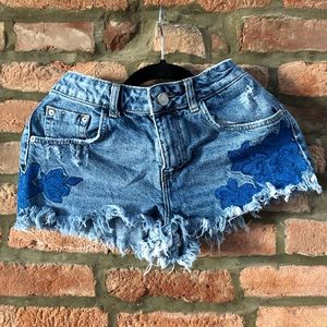Zara Trafaluc denim shorts (flower appliqué)